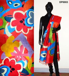 Red color silk hand-painted dupatta – Panache Haute Couture