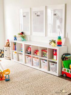 Playroom Closet, Small Playroom, Toddler Playroom, Playroom Design, Playroom Decor, Organized Playroom, Kids Playroom Storage, Boys Playroom Ideas, Modern Playroom
