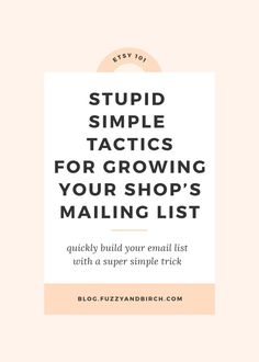 Grow Your Etsy Customer Email List With These Stupid Simple Tactics Etsy Business, Craft Business, Business Tips, Online Business, Creative Business, Business Essentials, Business Articles, Business Education, Business Goals