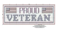 Proud Veteran by: Theresa Hall Cross Stitch Letters, Beaded Cross Stitch, Plastic Canvas Crafts, Plastic Canvas Patterns, Little Stitch, Letter Stencils, Sewing Art, Canvas Designs, Tissue Box Covers