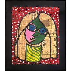 "Romero Britto ""RED GIRL"" Neo-Pop Artist Vintage Painting 1988 Authentic Original #ArtDeco"