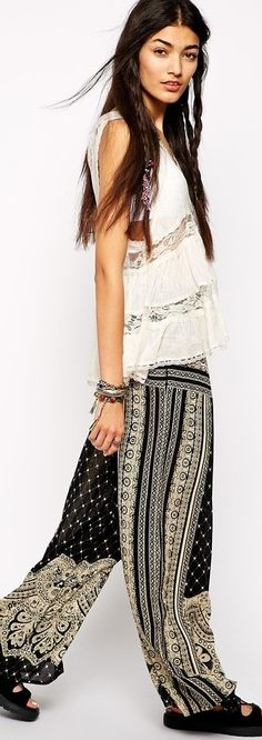 ethnic wide leg pants - read about trend for 2015 - http://www.boomerinas.com/2015/02/24/7-womens-trouser-trends-wide-leg-pants-flared-bell-bottoms-palazzos-culottes/
