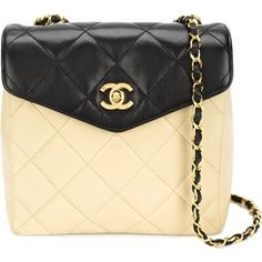Chanel Vintage bi-colour crossbody bag featuring polyvore, women's fashion, bags, handbags, shoulder bags, borse, clothing, purses, multicolour, quilted crossbody, chanel purses, handbags crossbody, vintage handbags and purse shoulder bag