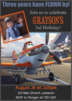 Disney Planes Photo Birthday Invitation by WalkerPhotoInvites