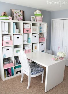 Gorgeous home office space. Perfect in spare bedrooms or in a corner of an extra large living room! Future craft room might need to move  This would be great in downstairs spare bedroom, would hold all craft/scrapbooking/cake decorating stuff.