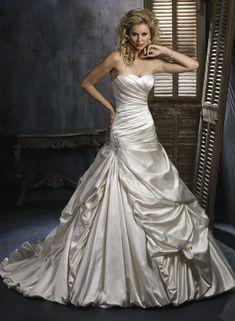 Satin Strapless Sweetheart Neckline A-line Wedding Dress - Bupop.com