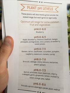 pH levels preferred by edible plants