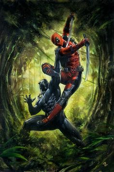Black Panther vs Deadpool by Adi Granov Marvel Comics Art, Marvel Comic Universe, Comics Universe, Marvel Memes, Marvel Cinematic Universe, Dead Pool, Black Panther Marvel, Adi Granov, Midtown Comics