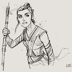 """Drawing #Rey again! This was drawn with my """"The Blake"""" brush in #Photoshop - it is part of my Megapack. Kylebrush.com #starwars #drawing #illustration #fanart by kyle.t.webster"""