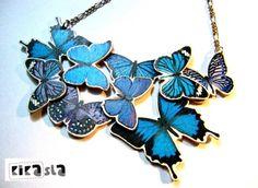 Náhrdelníky - Zbierka modrých motýľov - od kikasla