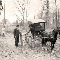 Photo: In the rural areas, mail often was brought by horse and buggy.. this was taken in 1914..