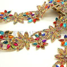 Multi-colour floral beaded rhinestone trim - sarahi.co.uk