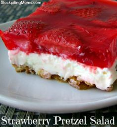 Strawberry Pretzel Salad is the perfect combination of sweet and salty.  My family loves this recipe.  Be sure to click it to read how to make it.