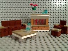 Lego Fireplace Couch Chair Ottoman Coffee Table Furniture Sofa Mantle Room Jar | eBay