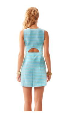 Back of Lilly Puliter Whiting Cut-Out Shift Dress in Resort White & Blue Ottoman Stripe