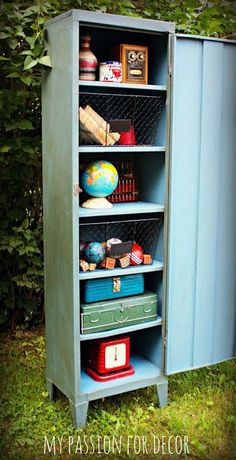 Rusty, old metal pantry cabinet turned vintage industrial locker using Chalk Paint® by Annie Sloan in a custom color. Industrial Lockers, Metal Lockers, Vintage Industrial, Painted Furniture, Home Furniture, Repurposed Furniture, Furniture Ideas, Furniture Design, Diy Kitchen Cupboards