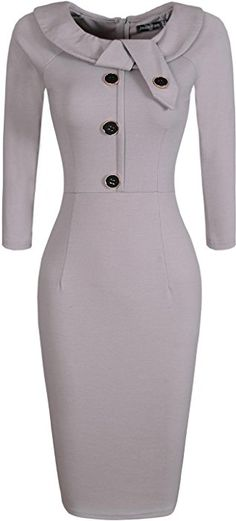 jeansian Women's Elegant Child Doll Collar Gowns Bodycon Pencil Dress with Belt WKD189 Gray S