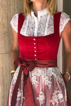 Dirndl Mariella in red - Dirndl for the Oktoberfest - HW 19 collection - AlpenHerz ♥ Herbst / Winter Kollektion 19 - Drindl Dress, Men Dress, Poncho Crochet, German Costume, Oktoberfest Outfit, Skirt Outfits, Costume Design, Flare Dress, Trendy Outfits