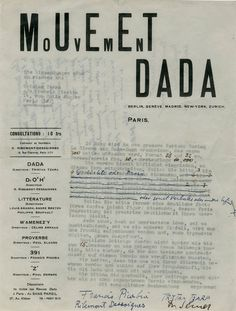 Front of the Dadaglobe request letter from Tristan Tzara, Francis Picabia, Georges Ribemont-Dessaignes and Walter Serner to Alfred Vagts, 1920. Archivio Lafuente