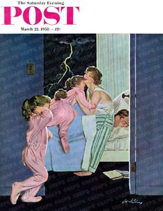 """""""Lightning Storm,"""" 1958 Saturday Evening Post cover illustrated by artist Coby Whitmore - Retro Reveries Photo Vintage, Vintage Images, Vintage Art, Vintage Vibes, Vintage Pictures, Vintage Paper, Peintures Norman Rockwell, Lighting Storm, Illustrations Vintage"""