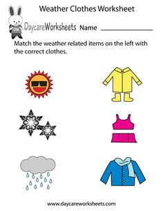 Preschoolers have to match the weather related items on the left in this free wo. Preschoolers have to match the weather related items on the left in this free worksheet with the correct clothes on the right. Seasons Worksheets, Weather Worksheets, Preschool Worksheets, Kindergarten Activities, Classroom Activities, Printable Worksheets, Preschool Weather, Weather Activities, Free Preschool