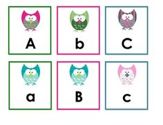 Here is a set of Upper and Lowercase Letters in a cute owl theme....