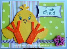 Chick Magnet Card made with Jaded Blossom Stamps and a Design on Cloud Nine File