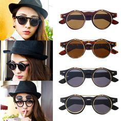 cdd5ebfd315 Encontrar Más Gafas de sol Información acerca de Clásico Steampunk gótico Gafas  gafas ronda voltear up