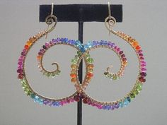Riotous Hues...Vibrant Gemstone Gold Filled Nautilus Spiral Earrings