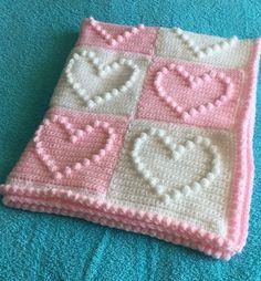 Hand crochet heart bobble blanket £20.00