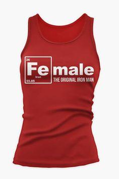 Mens fitness: FEmale the Original Iron Man Fitness / Workout Tan... Original Iron Man, Workout Tank Tops, Athletic Tank Tops, Mens Fitness, Red, Female, Fitness For Men, Men's Fitness, Male Fitness