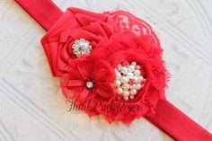 Red headband, Christmas headband, baby girl headband, shabby chic headband, red flower headband, newborn headband, baby bows. $9.95, via Etsy.