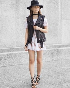 A Little Detail - Floral Romper // Leather Vest // Lace Up Heels // Black Felt Fedora #womensfashion #fallfashion #floralromper #leathervest #blackfedora #autumnfashion #summerfashion #fashion #outfit
