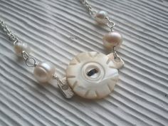 hand carved mother of pearl vintage button by RisingDawnBoutique