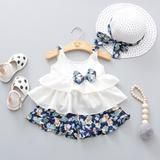 Baby clothes Summer Baby Girl Clothes Strap Bow Vest + Floral Shorts + Fashion Hat Set Baby Clothing Suit For Girls Clothes Frocks For Girls, Dresses Kids Girl, Kids Outfits, Twin Outfits, Cheap Girls Clothes, Cute Baby Clothes, Summer Clothes, Baby Outfits Newborn, Baby Girl Newborn