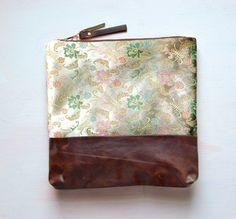 I V O R Y SATIN Floral Leather Clutch Large by GiftShopBrooklyn, $88.00