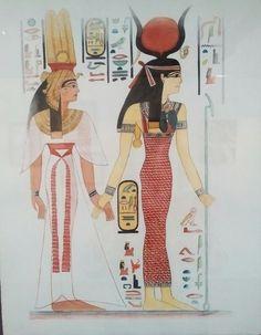 Néfertari et la déesse Hathor. Aquarelle, Christine Monsion
