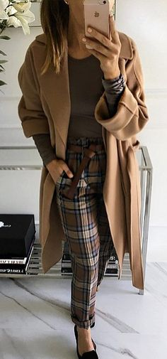 how to wear plaid pants : cashmere coat + top + shoes