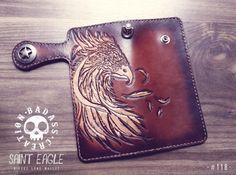 Biker's Long Wallet Saint Eagle 118 by BadassCreation on Etsy