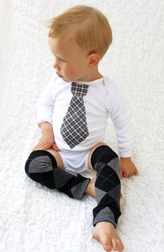 Baby Boy Tie Onesie and and Leg Warmers / by ChicCoutureBoutique, $15.50