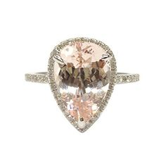 $729 Pear Morganite Engagement Ring Pave Diamond Wedding 14K White Gold 9x11mm