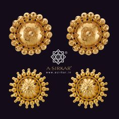 Kanpasha I & J  Both these pairs are similar in style but sport contrasting craftsmanship, with (I) on top featuring a typical Manipuri topa-ball arrangement while (J) below is a thokai flower and ball-karai design. Made by us in hallmarked 22K gold in a variety of finishes, you see (I) in a reddish antique polish and (J) in bright yellow.