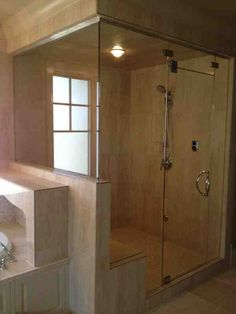 Frameless shower doors, which first became popular in Europe, have recently become a favorite of Calgary homeowners by Calgary Glass Door Frameless Shower Doors, Glass Shower Doors, Glass Door, Master Bath Remodel, Master Bathroom, Mirror House, Custom Glass, Calgary, Ceiling Lights