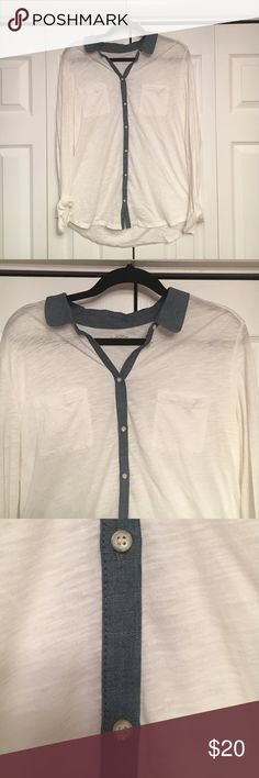 """""""Ann Taylor LOFT"""" Button-Down Long Sleeved Shirt This """"Ann Taylor LOFT"""" button-down long-sleeved shirt is white with a denim strip in the middle and on the collar.  Ann Taylor LOFT Tops Button Down Shirts"""