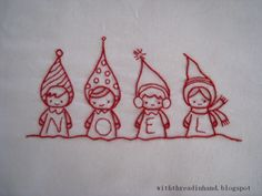Christmas embroidery patterns by the talented Annie Oakleaves.  Would look cute on a tea towel or edge of a table runner... by MyLittleCornerOfTheWorld
