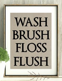 Bathroom Decor, Bathroom Wall Prints, Bathroom, Wash, Brush, Floss, Flush, Gift for Grandma,New Mom Gift, Kids Bathroom, Bathroom Rules,Gift by InkBaDink on Etsy