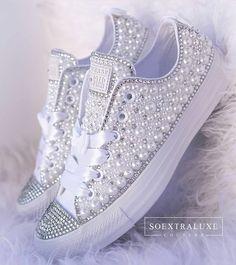 Bride Sneakers, Bride Converse, Rhinestone Converse, Converse Wedding Shoes, Wedding Sneakers, Converse Shoes, Wedding Tennis Shoes, Wedding Shoes Bride, Bridal Shoes