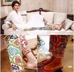 Beautiful Indian colorful Ethnic Pants, Cotton Phulkari Pants (Traditional Punjabi embroidery) - Wool Thread Embroidered Cigarette Pants- Fulkari Pants, here worn with white kameez. - by etsy @ find by makeup & hair, MI Indian Suits, Indian Attire, Indian Wear, Indian Dresses, Eid Outfits, Pakistani Outfits, Work Outfits, Kurta Designs, Blouse Designs
