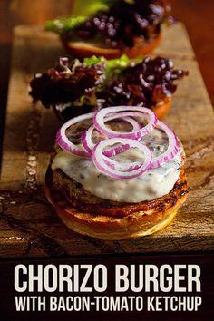 pork chorizo burger with bacon tomato ketchup chorizo burgers with ...