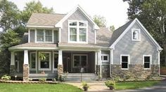 white craftsman house with stone | and of course...the gray/stone/charcoal roof option is calling me, too ...